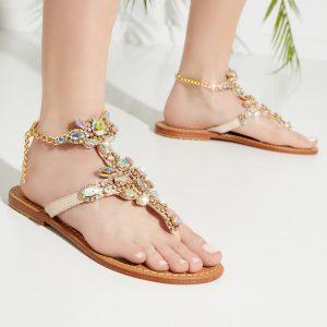MYSTIQUE SHOES - Beżowe sandały z kryształami.