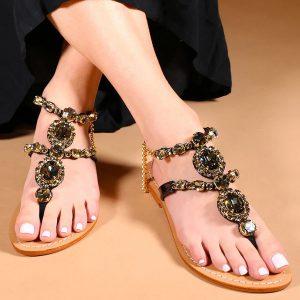 MYSTIQUE SHOES - Czarne sandały z kryształami Waialua.