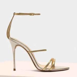 ALEXANDRE BIRMAN - Złote sandały Lacy.
