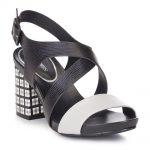 Damskie sandały skórzane na kraciastym słupku.