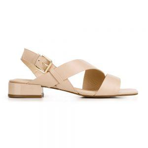 Damskie sandały skórzane z kwadratowym noskiem.