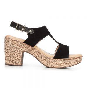 Damskie sandały z nubuku na koturnie.